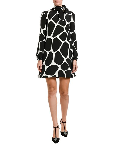 Giraffe-Print Cady Long-Sleeve A-line Dress