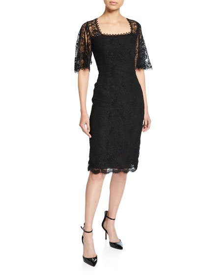 Dullja Lace Square-Neck Split-Sleeve Dress
