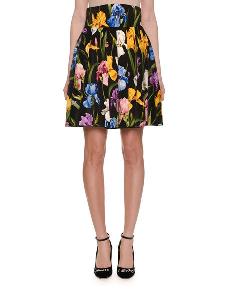 Iris-Print Velvet Pleated Skirt