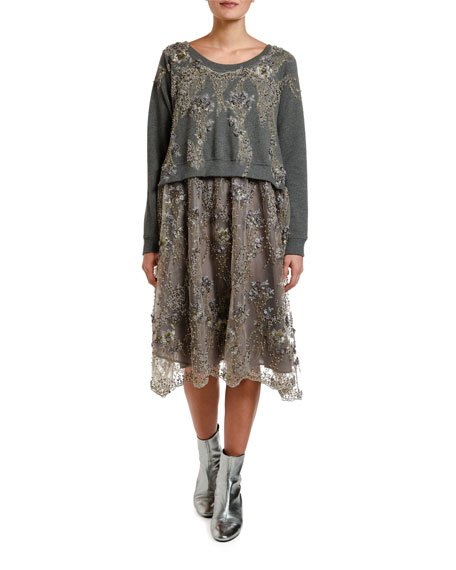 Lace-Embroidered Sweatshirt-Top Dress