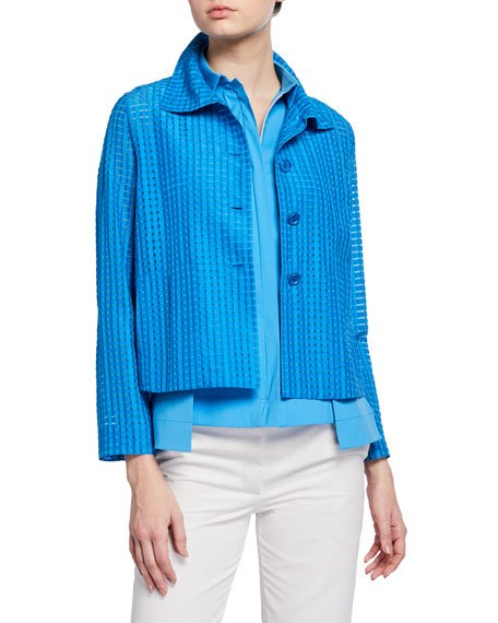 Silk Flyaway-Collar Jacket