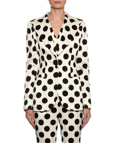 Single-Breasted Polka Dot Duchesse Jacket