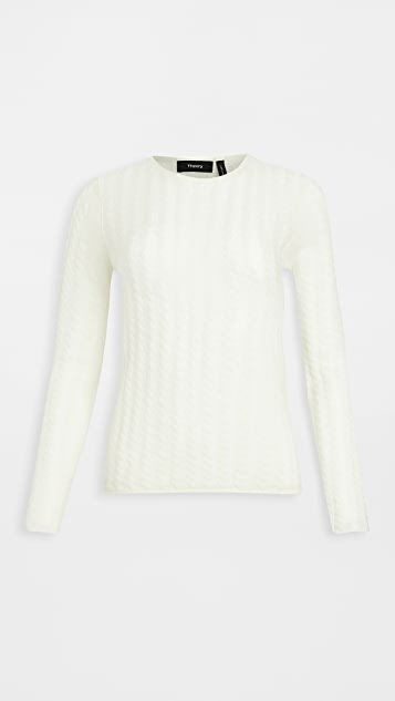 Cashmere Tiny Cable Pullover