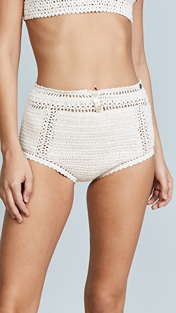 Essential Cotton Crochet High Waist Bikini Bottoms