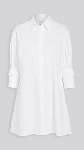 Ruffle Cuff Shirt Dress