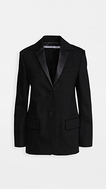 Boxy Single Breasted Tuxedo Blazer