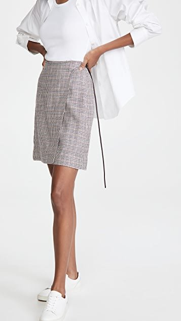 Miniskirt W/ Buckle In Silk Linen Plaid