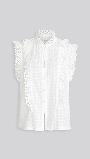 Sleeveless Palm Embroidery Top