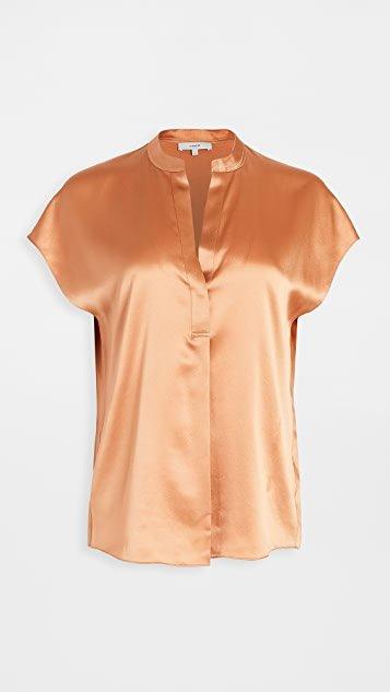 Sleeveless Shirred Back Silk Blouse