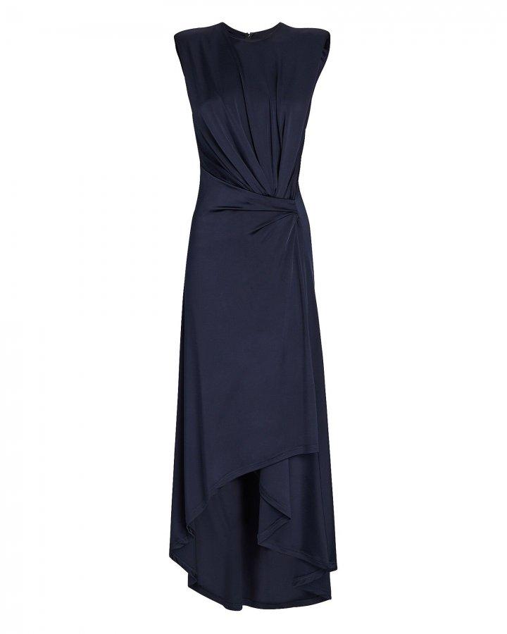 Draped Power-Shoulder Midi Dress