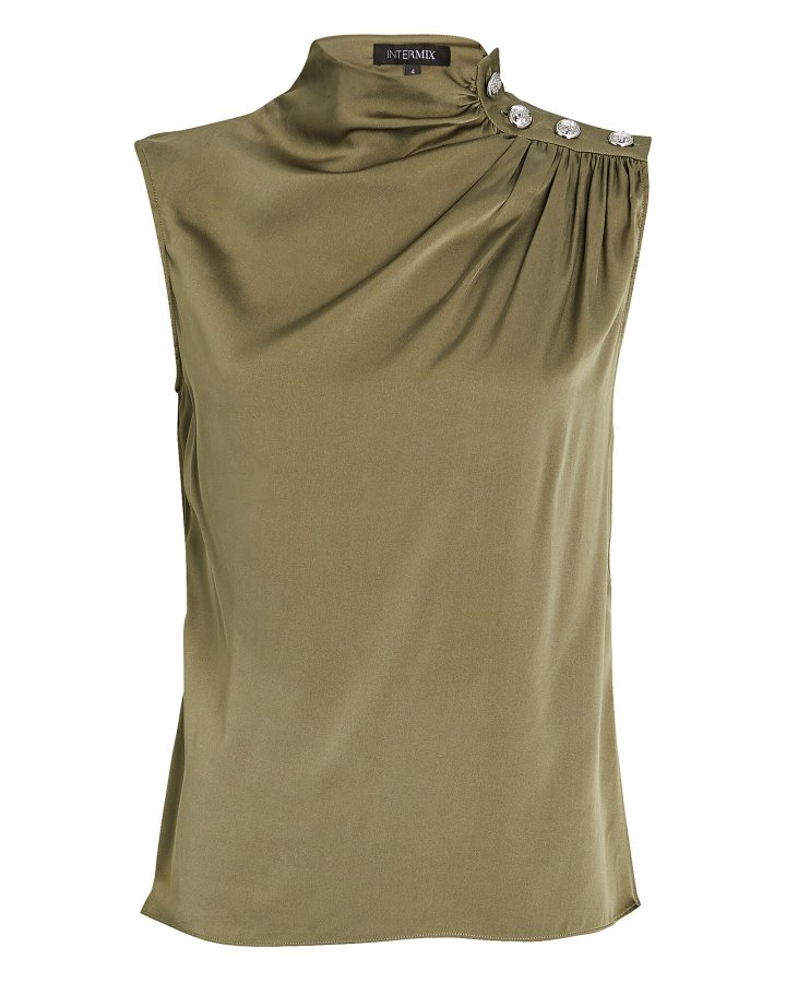 Cherie Sleeveless Silk Turtleneck Top