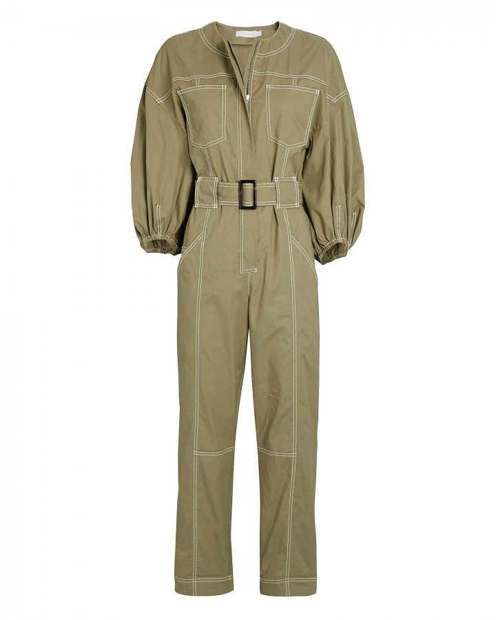 Annika Puff Sleeve Cotton Jumpsuit