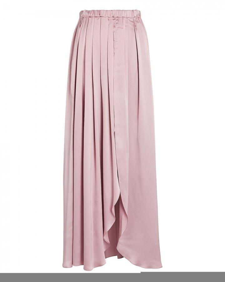 Masha Pleated Silk Midi Skirt