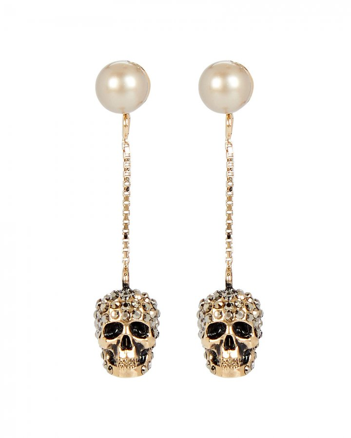 Pavé Skull Pearl Drop Earrings