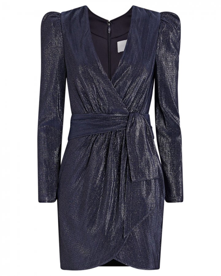 Metallic Mini Wrap Dress