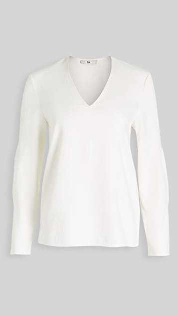 Chalky Drape V Neck Long Sleeve Top