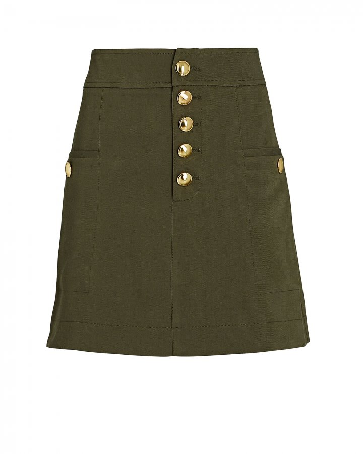Palmer Button-Front Mini Skirt