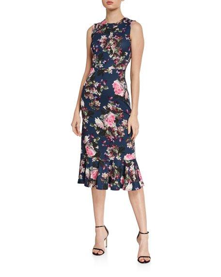 Grazia Floral-Print Sleeveless Flounce-Hem Midi Dress