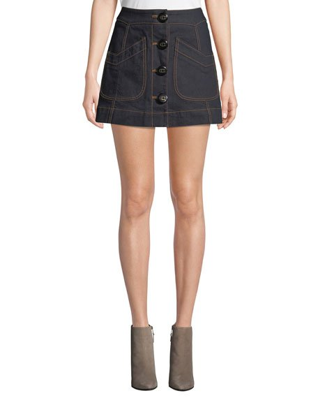 Button-Front Denim Mini Skirt with Topstitching