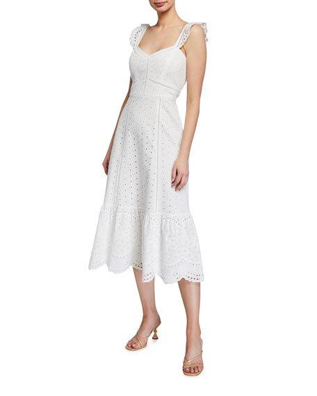 Genevieve Scalloped Eyelet Midi Dress