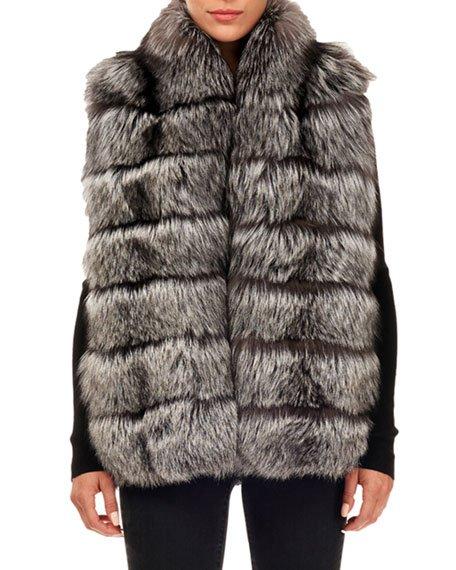 Horizontal Silver Fox Fur Block Vest