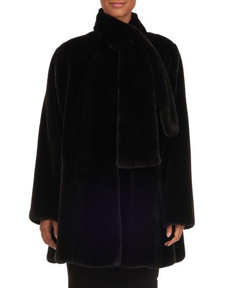 Tie-Neck Mink Fur Stroller Jacket, Black