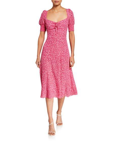 Mollina Puff-Sleeve Midi Dress