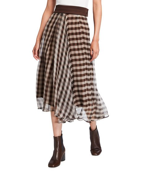 Asymmetric Gingham Silk Midi Skirt