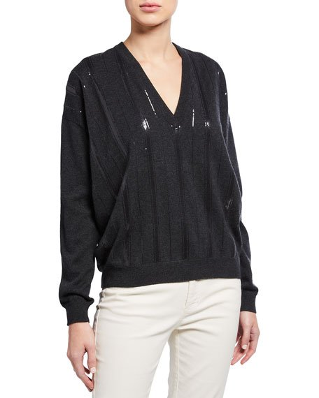Cashmere Regimental-Striped Sequined Sweater