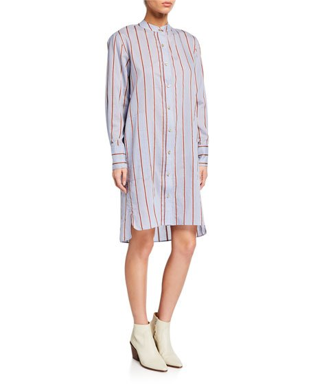 Yucca Striped Band-Collar Long-Sleeve Shirt Dress