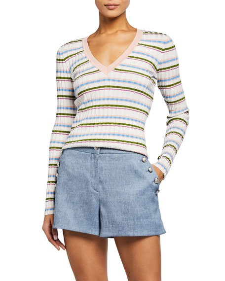 Amada Striped V-Neck Pullover