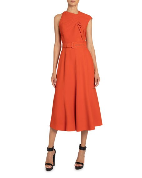Belted Crepe Asymmetric-Ruched Dress