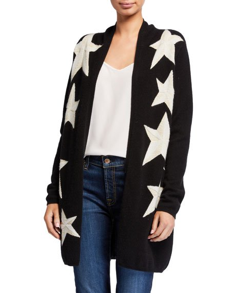 Cashmere Metallic Star Intarsia Open Cardigan