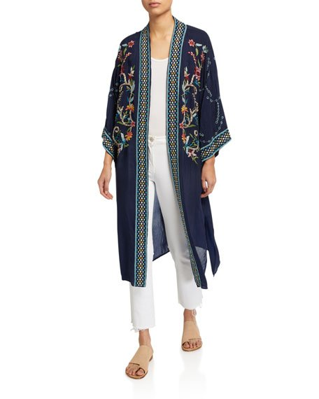 Summer Embroidered Long Kimono