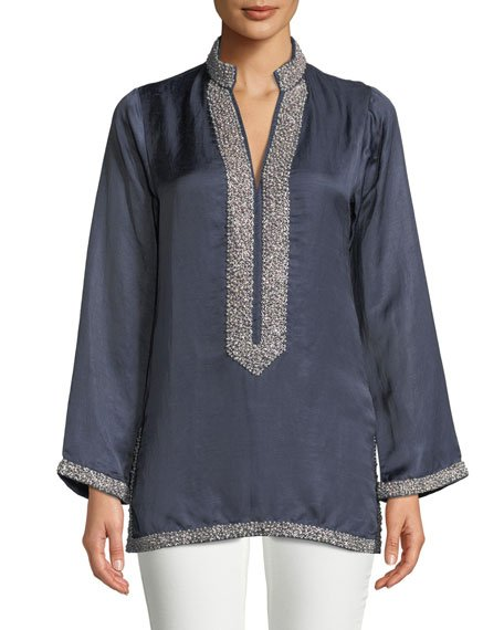 V-Neck Long-Sleeve Pearly Embellished Tunic with Mandarin Collar