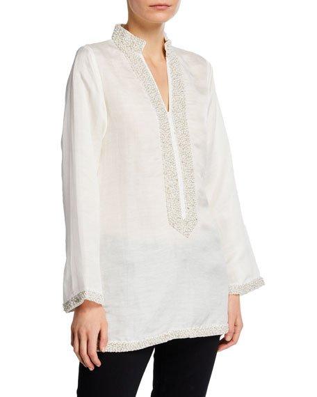 V-Neck Long-Sleeve Pearly Embellished Tunic