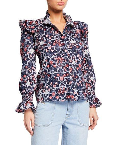 Tedy Printed Linen Ruffle Shirt