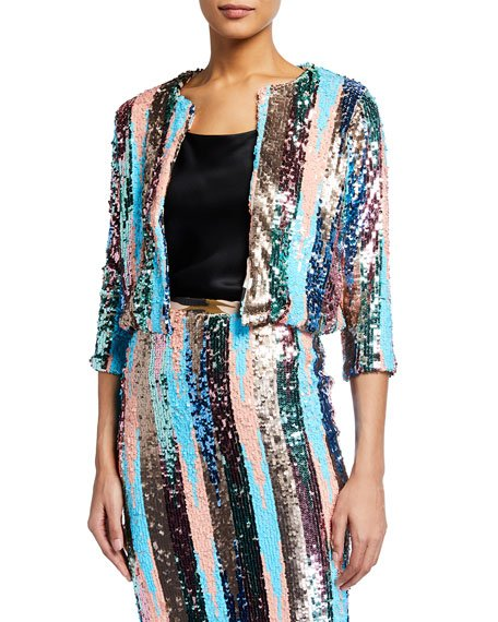 Multipattern Sequin Cardigan
