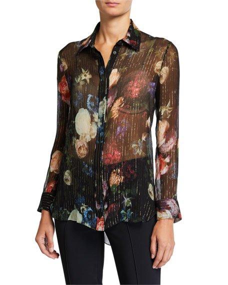 Floral Print Metallic-Chiffon Menswear Top