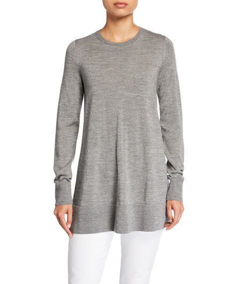 Metallic Fine-Gauge Merino Wool Crewneck Tunic Sweater