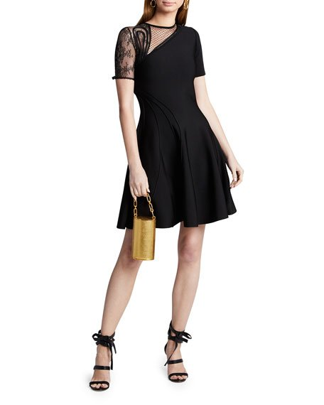 Lace Sleeve Ponte A-Line Dress