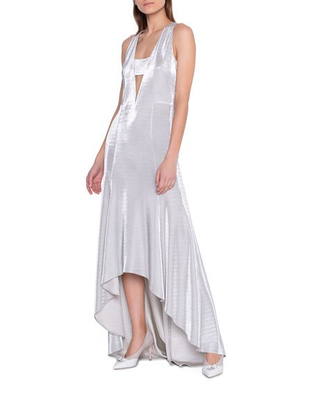 Metallic High-Low Hem Gown