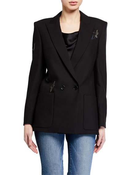 Visko Rhinestone Double-Breasted Jacket