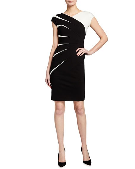 Two-Tone Jersey Cap-Sleeve Dress