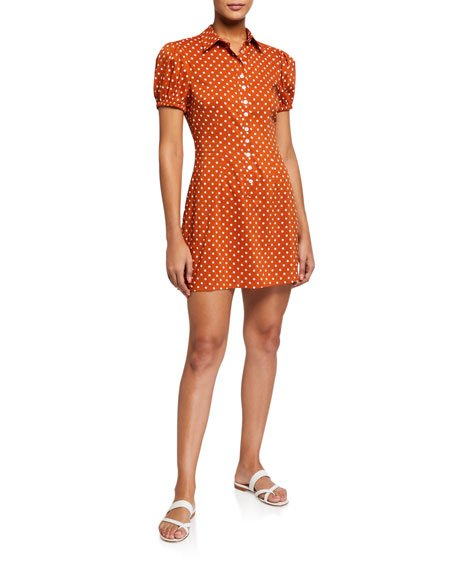 Bella Polka Dot Button-Front Mini Dress