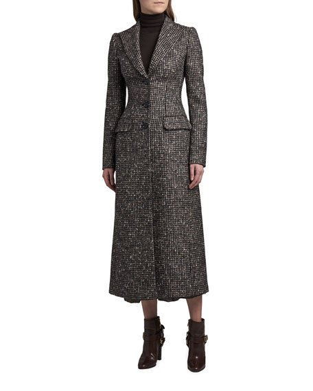 Fitted Tweed Long Overcoat