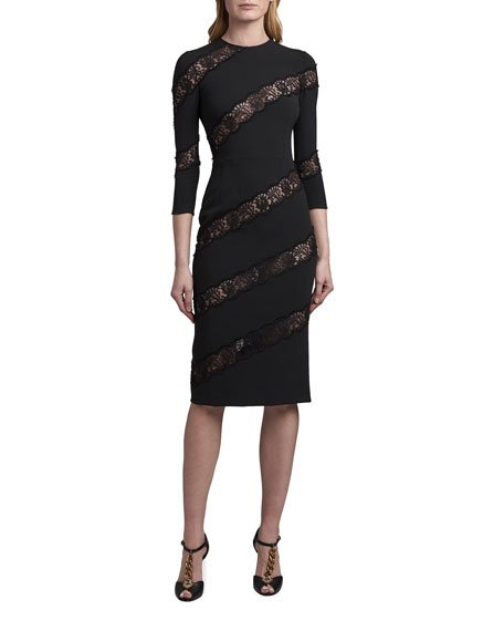 Crewneck Sheath Dress with Angled Lace Insets