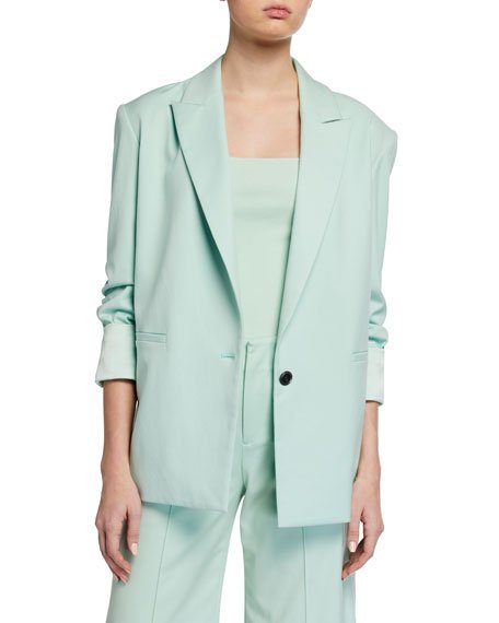 Denny Notch-Collar Boyfriend Blazer w/ Rolled Cuffs