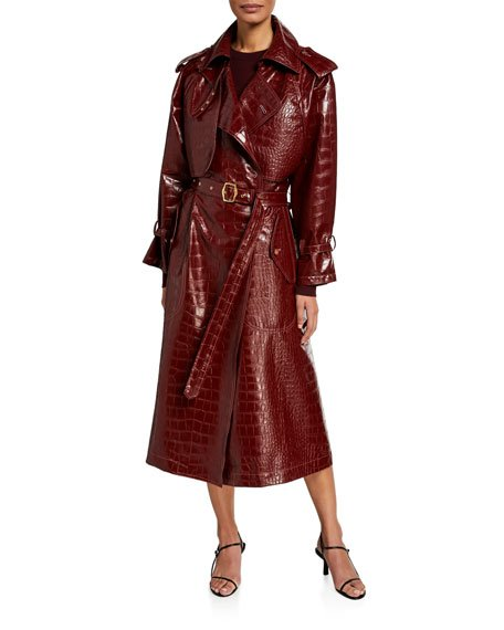 Alligator-Embossed Faux-Leather Trench Coat