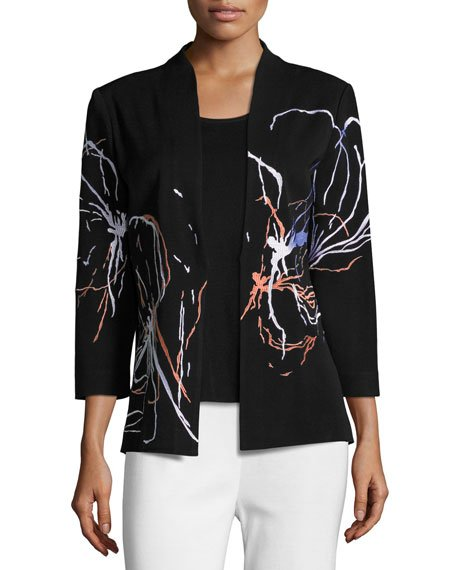 Plus Size Fireworks Embroidered Jacket